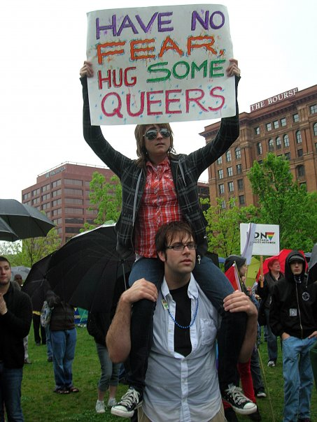Ryan Haines and Kelly Collett at the Equality Forum Rally, 2009.  Photo taken by Andrew Madonna.